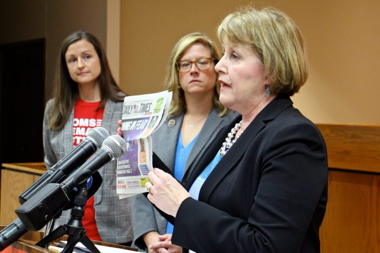 Cathy Stone (right), executive director of the Domestic Abuse Project of Delaware County, holds up a headline-grabbing example of domestic abuse during a press conference to promote Pensylvania House Bill 2060, which prohibits abusers from possessing guns. She is joined by (from left) Sara Wallace of Moms Demand Action and state Rep. Leanne Krueger-Braneky, a co-sponsor of the bill. (Emma Lee/WHYY)