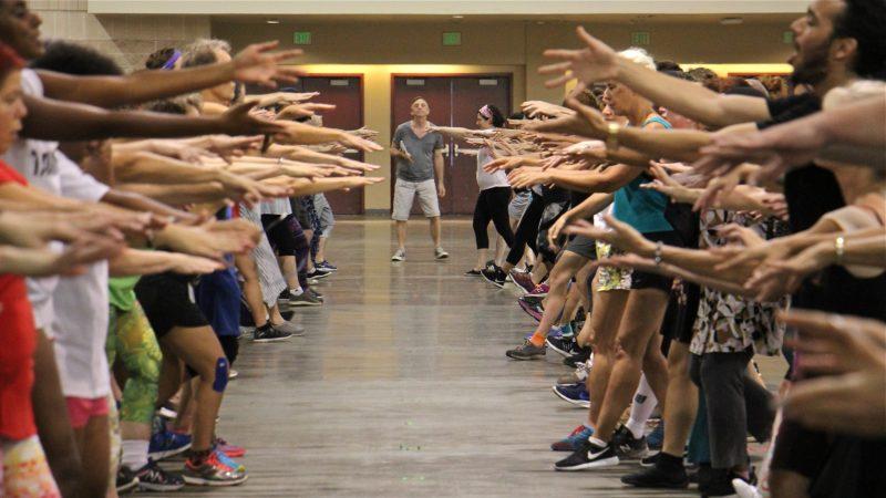 Montreal-based choreographer Sylvain Émard leads a rehearsal of