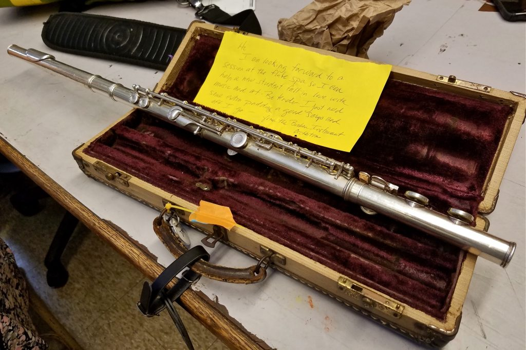 "A note written by Tobie Hoffman from the flute's point of view says the instrument wants to ""help a new student fall in love with music."""