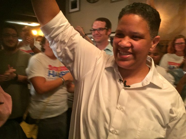 Kerri Evelyn Harris is cheered by supporters in Wilmington after U.S. Sen. Tom Carper defeated her Thursday in Delaware's Democratic primary.