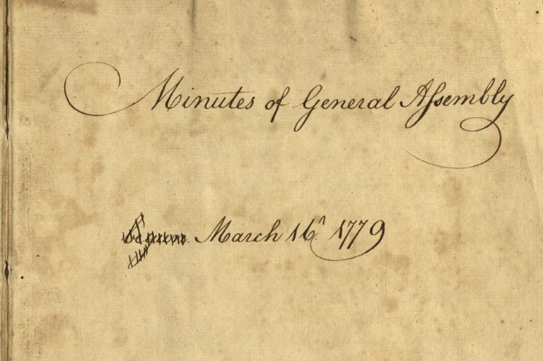 An original 1779 minute book of Pennsylvania's unicameral Revolutionary General Assembly has returned to Pennsylvania for safekeeping in the Pennsylvania State Archives. (Pennsylvania Historical and Museum Commission)