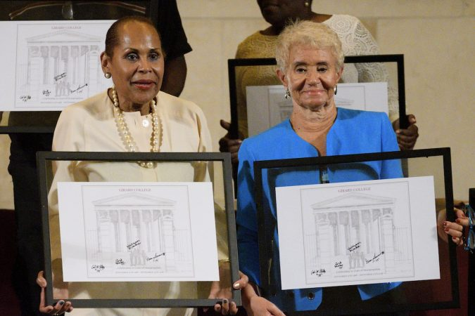 Freedom Fighters, activists, and pioneers are honored for their involvement in the civil rights demonstrations of the 1960s at Girard College, during an event commemorating the 50th anniversary of the desegregation of the once all white, male school. (Bastiaan Slabbers for WHYY)