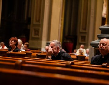 Clergy attended a mass in September 2018 at the Basillica of Saints Peter and Paul for a night of prayer and reflection following revelations of wide spread sexual abuse by priests across the state. (Brad Larrison for WHYY)