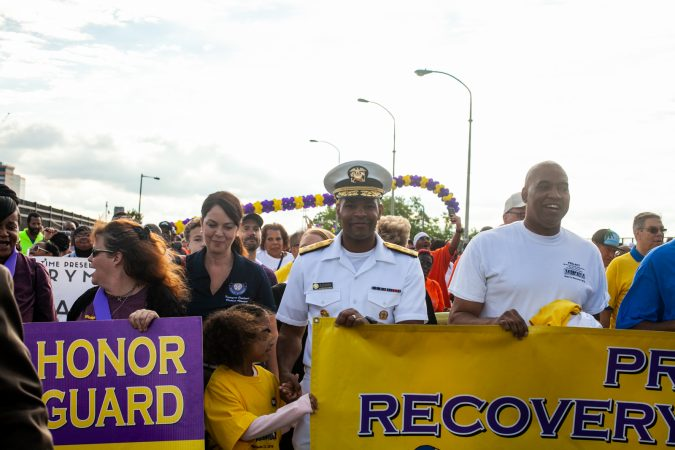 U.S. Surgeon General Jerome Adams participated in the 2018 Philadelphia Recovery Walk, Saturday morning at Penn's Landing. (Brad Larrison for WHYY)