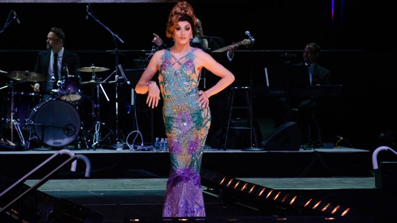 Ms. Adriana Trenta competes in the evening gown event during the Miss'd America Pageant held at the Borgata in Atlantic City.  (Anthony Smedile for WHYY)
