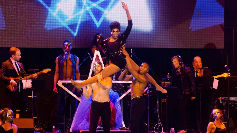 Ms. Sapphira Cristal competes in the talent event  during the Miss'd America Pageant held at the Borgata in Atlantic City.  (Anthony Smedile for WHYY)