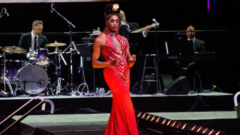 Ms. Sapphira Cristal competes in the evening gown event  during the Miss'd America Pageant held at the Borgata in Atlantic City.  (Anthony Smedile for WHYY)