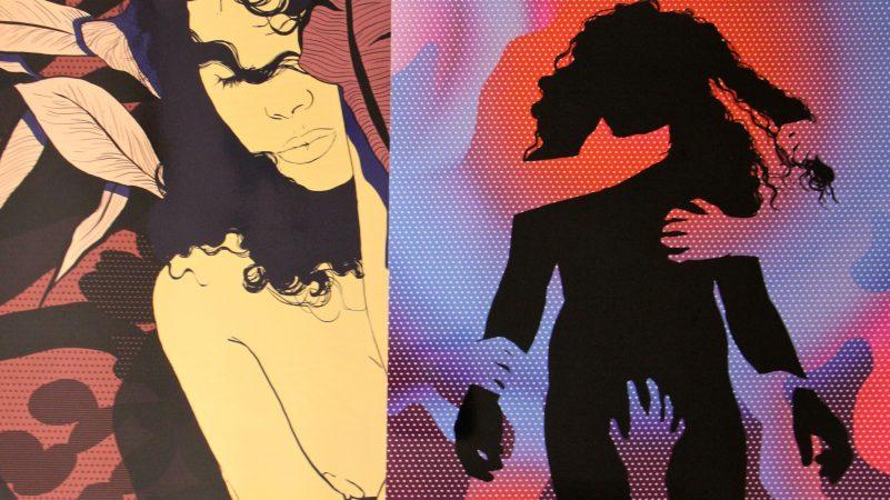 Prints by Algerian artist Merieme Mesfioui. (Emma Lee/WHYY)
