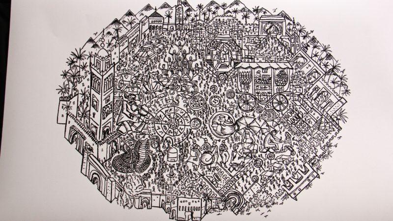 A depiction of Marrakesh by Moroccan artist Zineb Benjelloun, who describes himself as an urban cartographer. (Emma Lee/WHYY)