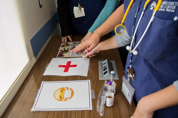 Nurses sound out a clue during the