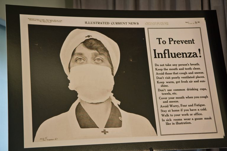 A public announcement about preventing influenza published in the Illustrated Current News in 1918 during the Spanish flu pandemic. (Kimberly Paynter/WHYY)