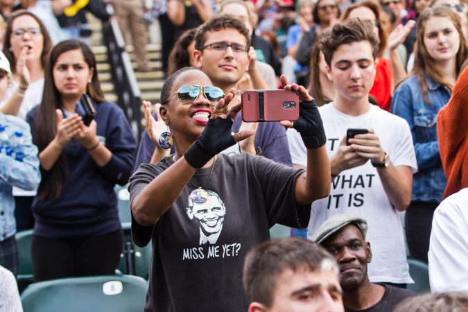 Philadelphians attended a rally for the re-election of U.S. Sen. Bob Casey and Gov. Tom Wolf at the Dell Music Center in North Philadelphia. (Kimberly Paynter/WHYY)