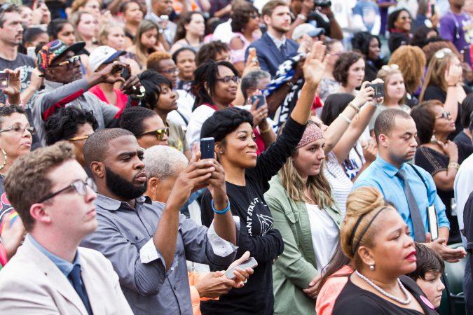 Philadelphians cheer Obama at the Dell Music Center in North Philadelphia. (Kimberly Paynter/WHYY)