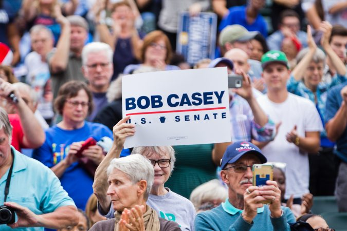 Supporters cheer for the re-election of U.S. Sen. Bob Casey Friday. (Kimberly Paynter/WHYY)