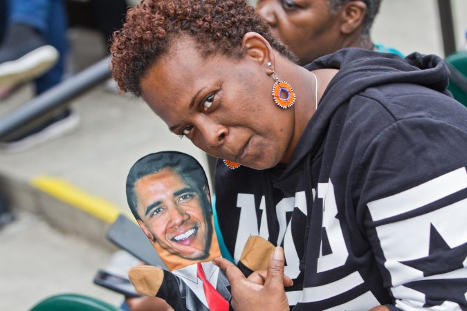 One woman makes no secret of her admiration during a rally for the re-elections of U.S. Sen. Bob Casey and Gov. Tom Wolf at the Dell Music Center in North Philadelphia. (Kimberly Paynter/WHYY)