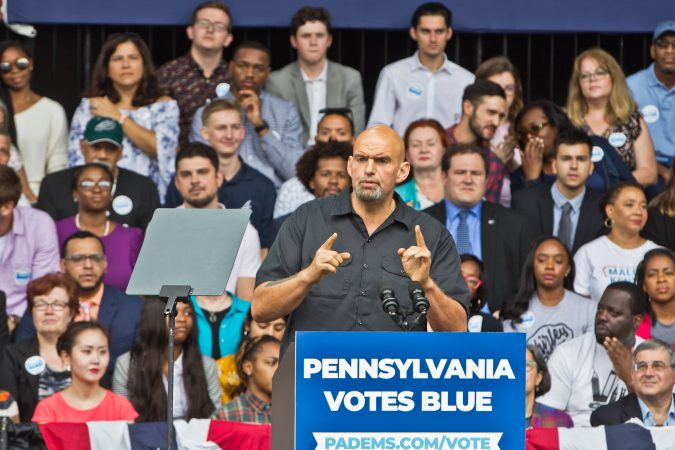 John Fetterman, the  Democratic candidate for Pennsylvania lieutenant governor, urges the crowd to get to the polls Nov. 6. (Kimberly Paynter/WHYY)