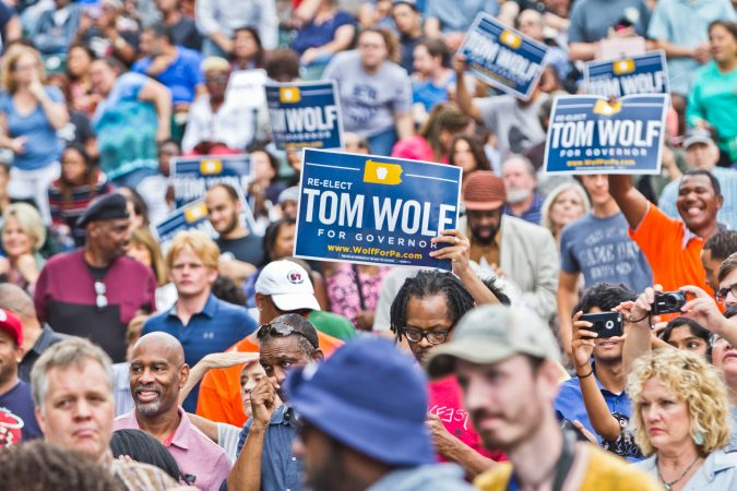 Supporters cheer for the re-election of Pennsylvania Gov. Tom Wolf at the Dell Music Center in North Philadelphia. (Kimberly Paynter/WHYY)