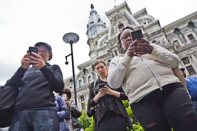 Women and allies gathered in Center City Philadelphia tweet at Iowa senator Chuck Grassley and Pa. senator Daylin Leach as part of a national walkout to show support for Christine Blasey Ford and Deborah Ramirez, two women who claim Supreme Court Judge nominee Brett Kavanaugh sexually assaulted them. (Kimberly Paynter/WHYY)