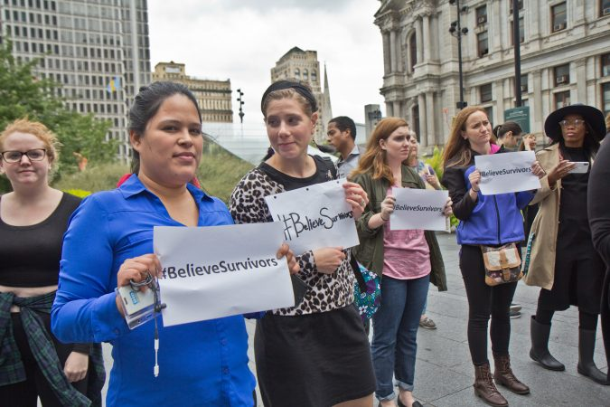 Women and allies gathered in Center City Philadelphia as part of a national walkout to show their support for Christine Blasey Ford and Deborah Ramirez, two women who claim Supreme Court Judge nominee Brett Kavanaugh assaulted them. (Kimberly Paynter/WHYY)