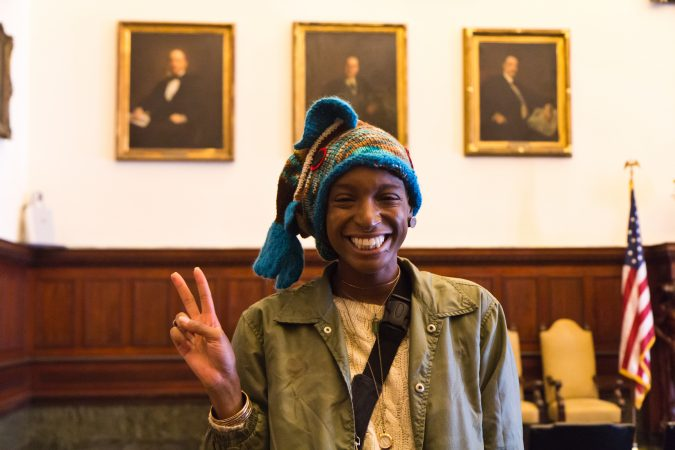 Sakinah Scott is a volunteer with the Knit In and loves to see people coming together for a greater good. (Kimberly Paynter/WHYY)