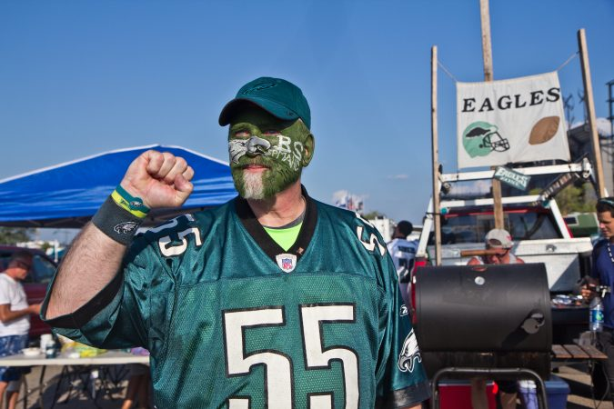 Gene Olewnik from Northeast Philadelphia sports Eagles face paint for the season opener. (Kimberly Paynter/WHYY)