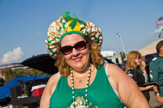 Megan Geise sports her Super Bowl Parade, Jason Kelce Mummers hat, at the Eagles' season opener. (Kimberly Paynter/WHYY)