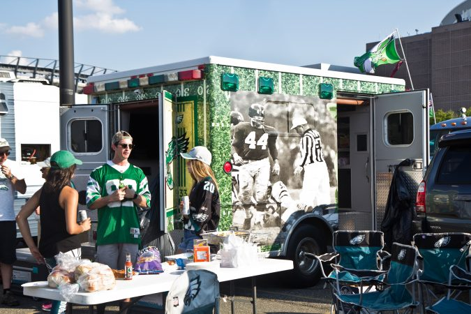 Eagles fan tailgate the first game of the season. (Kimberly Paynter/WHYY)