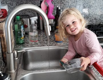 Rosy does dishes. Getting the 2-year-old involved in chores did lead to the kitchen being flooded and dishes being broken. But now she is still eager to help. (Michaeleen Doucleff/NPR)