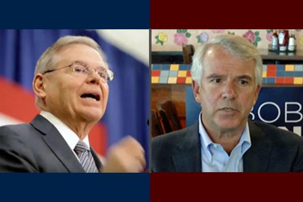 U.S. Sen. Bob Menendez (left) and Republican senatorial hopeful Bob Hugin. (NJ Spotlight)