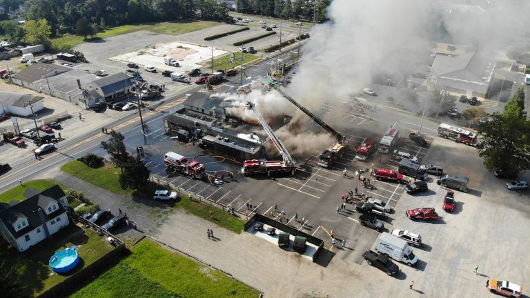 An aerial image of the Caffrey's Tavern fire in Lacey Township Wednesday. (Image: Scott M. Dacus via Jersey Shore Hurricane News)