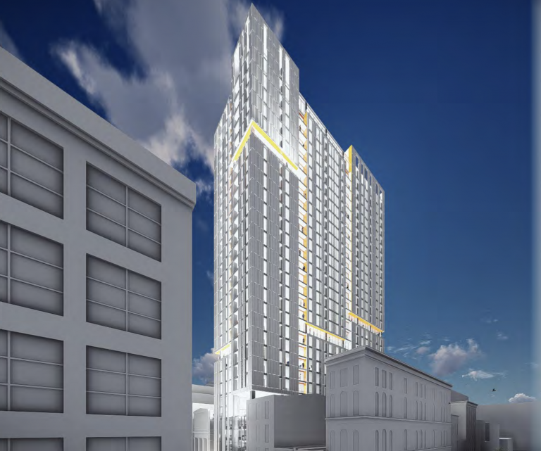 A rendering of the Erdy McHenry Architecture-designed tower proposed by Parkway Corp. for 709 Chestnut St. (Courtesy of Parkway Corp./Erdy McHenry Architecture)