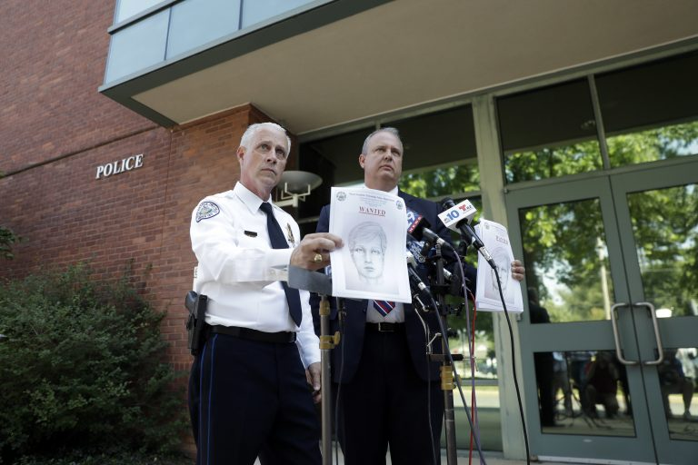 West Goshen Police Chief Joseph Gleason, left, and Charles Gaza, with the Chester County, Pa., District Attorney's Office, hold sketches of then-suspected road rage shooter during a news conference outside police headquarters, Friday, June 30, 2017, in West Goshen, Pa. Twenty-nine-year-old David Desper pleaded guilty Wednesday in Chester County in the death of 18-year-old Bianca Roberson. (AP Photo/Matt Slocum, File)