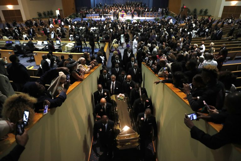 Pallbearers carry the casket out of Greater Grace Temple at the end of the funeral for Aretha Franklin, Friday, Aug. 31, 2018, in Detroit. Franklin died Aug. 16, 2018 of pancreatic cancer at the age of 76. (Jeff Roberson/AP Photo)