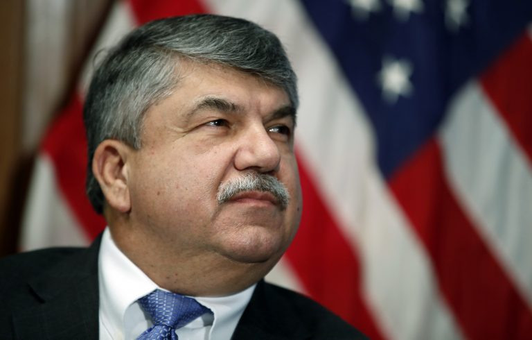 "In this April 4, 2017 file photo, AFL-CIO president Richard Trumka listens at the National Press Club in Washington. Trump tweeted Monday that AFL-CIO President Richard Trumka ""represented his union poorly on television this weekend."" He added: ""it is easy to see why unions are doing so poorly. A Dem!"" Trumka appeared on ""Fox News Sunday,"" where he said efforts to overhaul the North American Free Trade Agreement should include Canada. He also said of Trump: ""the things that he's done to hurt workers outpace what he's done to help workers."" (AP Photo/Alex Brandon)"