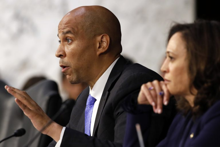 Sen. Cory Booker, D-N.J., (left), next to Sen. Kamala Harris, D-Calif., questions President Donald Trump's Supreme Court nominee, Brett Kavanaugh, as he testifies before the Senate Judiciary Committee on Capitol Hill in Washington, Wednesday, Sept. 5, 2018, on the second day of his confirmation hearing to replace retired Justice Anthony Kennedy. (Jacquelyn Martin/AP Photo)