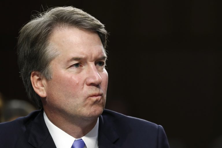 President Donald Trump's Supreme Court nominee, Brett Kavanaugh, listens to a question during the third round of questioning on the third day of his Senate Judiciary Committee confirmation hearing, Thursday, Sept. 6, 2018, on Capitol Hill in Washington, to replace retired Justice Anthony Kennedy. (AP Photo/Jacquelyn Martin)