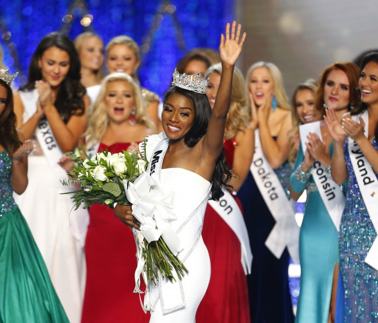 Miss New York Nia Franklin reacts after being named Miss America 2019, Sunday, Sept. 9, 2018, in Atlantic City, N.J. (Noah K. Murray/AP Photo)
