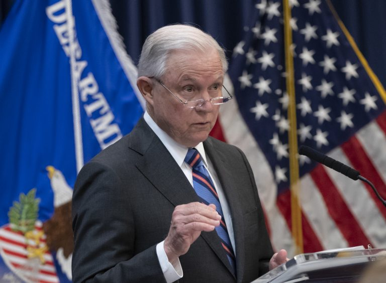 Attorney General Jeff Sessions outlines Trump administration policies as he speaks to new immigration judges, in Falls Church, Va., Monday, Sept. 10, 2018. Immigration judges work for the Justice Department and are not part of the Judicial branch of government. (J. Scott Applewhite/AP Photo)