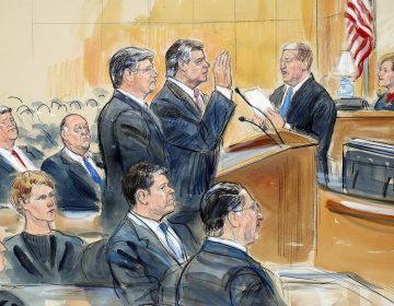 This courtroom sketch depicts former Donald Trump campaign chairman Paul Manafort, (center), and his defense lawyer Richard Westling, (left), before U.S. District Judge Amy Berman Jackson, (seated upper right), at federal court in Washington, Friday, Sept. 14, 2018, as prosecutors Andrew Weissmann, (bottom center), and Greg Andres watch. Manafort has pleaded guilty to two federal charges as part of a cooperation deal with prosecutors. (Dana Verkouteren via AP)