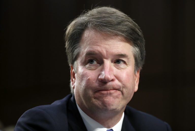 Supreme Court nominee Brett Kavanaugh reacts as he testifies after questioning before the Senate Judiciary Committee on Capitol Hill in Washington Sept. 6.  (AP Photo/Alex Brandon)