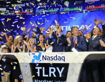 In this July 19, 2018, file photo Brendan Kennedy, (third from right in front), CEO and founder of British Columbia-based Tilray Inc., a major Canadian marijuana grower, leads cheers as confetti falls to celebrate his company's IPO (TLRY) at Nasdaq in New York. Investors are craving marijuana stocks as Canada prepares to legalize pot next month, leading to giant gains for Canada-based companies listed on U.S. exchanges. (Bebeto Matthews/AP Photo, File)