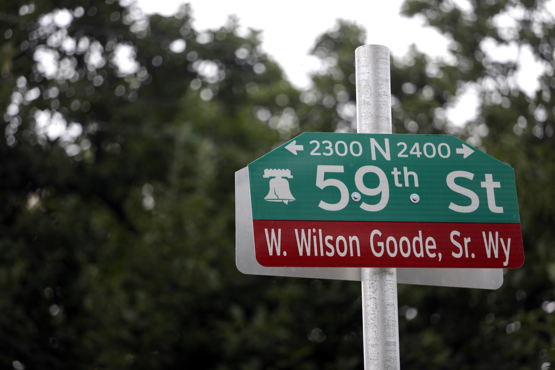 A newly-installed street sign honoring former Philadelphia Mayor W. Wilson Goode Sr.