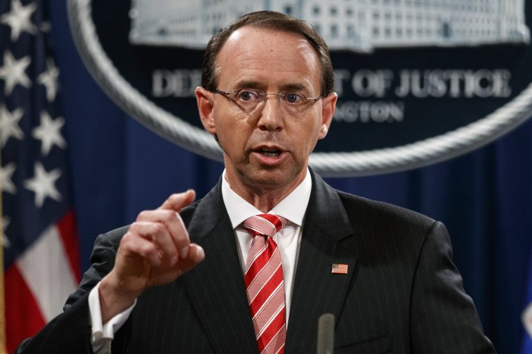 In this July 13, 2018, file photo, Deputy Attorney General Rod Rosenstein speaks during a news conference at the Department of Justice in Washington. (Evan Vucci/AP Photo, File)