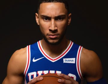 Philadelphia 76ers' Ben Simmons, of Australia, poses for a photograph during media day at the NBA basketball team's practice facility, Friday, Sept. 21, 2018, in Camden. (Chris Szagola/AP Photo)