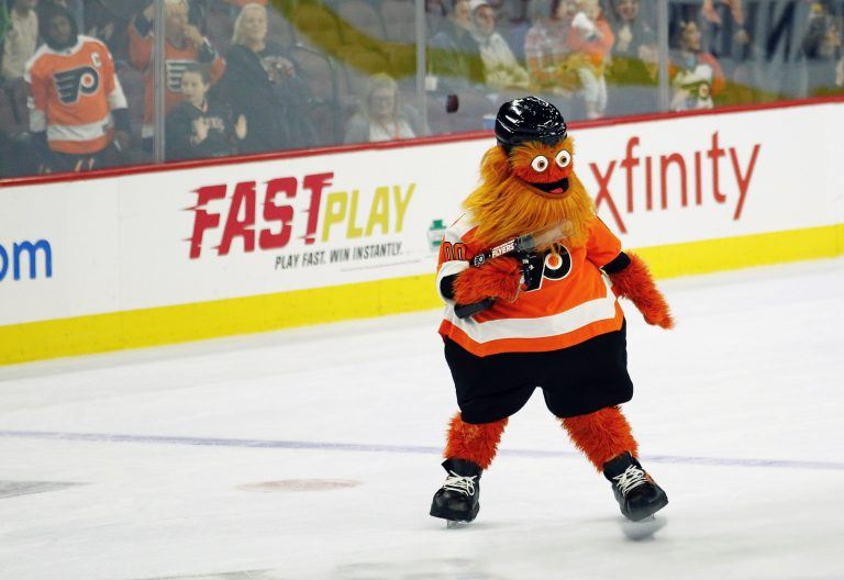 The Philadelphia Flyers' mascot, Gritty, on the ice during the second intermission of the Flyers preseason NHL hockey game against the Boston Bruins, Monday, Sept, 24, 2018, in Philadelphia. (Tom Mihalek/AP Photo)