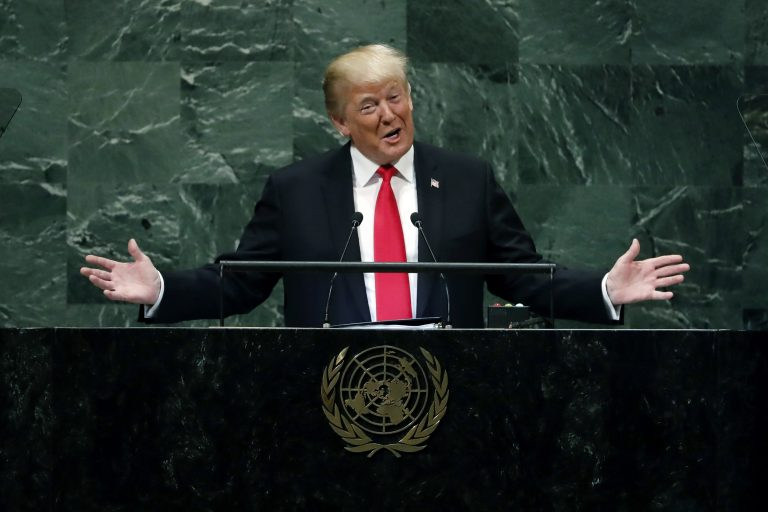 President Donald Trump addresses the 73rd session of the United Nations General Assembly, at U.N. headquarters, Tuesday, Sept. 25, 2018. (Richard Drew/AP Photo, File)