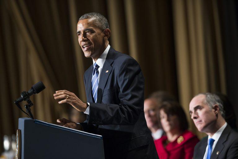 President Barack Obama speaks during the National Prayer Breakfast in Washington, Thursday, Feb. 5, 2015.  Sen. Bob Casey, D-Pa. is at right.  (Evan Vucci/AP Photo)