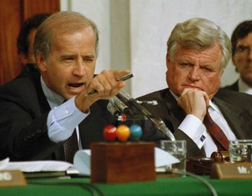 In this Oct. 12, 1991 file photo Senate Judiciary Committee Chairman Joe Biden, D-Del., points angrily at Clarence Thomas during comments at the end of hearings on Thomas' nomination to the Supreme Court on Capitol Hill. Sen. Edward Kennedy, D-Mass. looks on at right. (Greg Gibson/AP Photo, File)