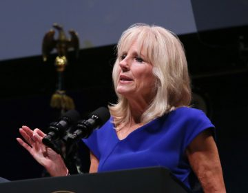 Dr. Jill Biden speaks about Cancer Moonshot, an initiative to advance scientific research for cancer, at The Social Good Summit at the 92nd Street Y in New York, Monday, Sept. 19, 2016. (Stuart Ramson/AP Images for UN Foundation)