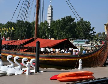 The oar-powered Draken Harald Harfagre viking ship is moored at Penn's Lansing, on Monday. (Bastiaan Slabbers for WHYY)